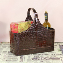 Elegant pu leather gift baskets,portable wine bottle carriers,storage basket