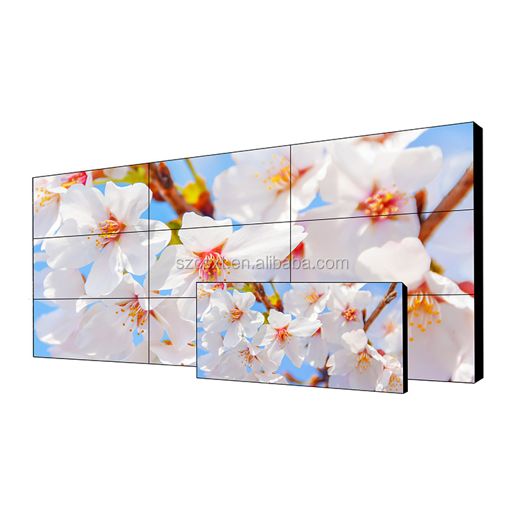 Customized ultra narrow bezel lcd video wall digital signage android media player with camera