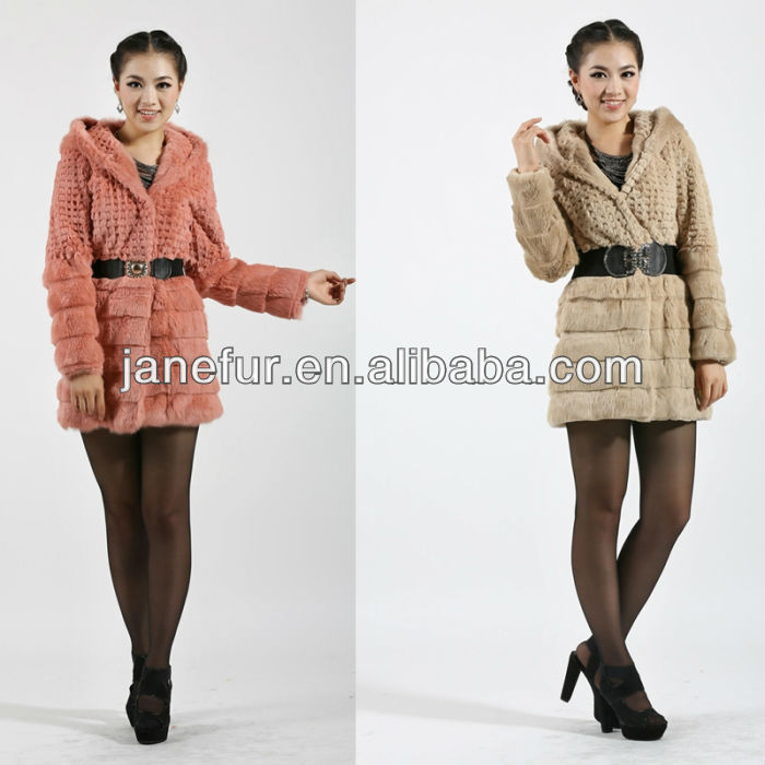 Winter Clothes Women genuine Houndstooth rabbit fur hat coat real Rabbit fur Hoodie 3 color