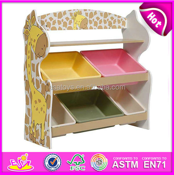 2015 New and Popular design wooden toy organizer for kids with 5 plastic bins, 2 Tier Wooden Toys Storage Organizer W08C033