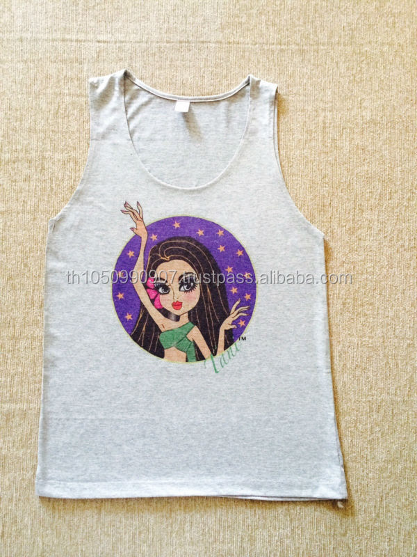 Girls printed t shirts 2014 latest beautiful Tani, Thai lady ghost printing women sleeveless vest t shirt