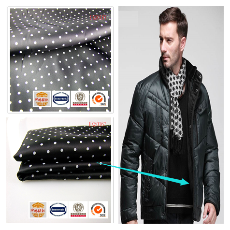 Stock item 68gsm twill 100%polyester polka dot print lining fabric in stock