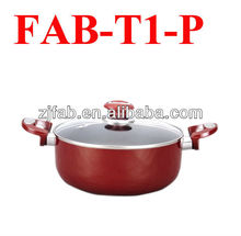 Cheap Red Aluminum Non-stick Saucepot with Glass Lid in Kitchen Safely
