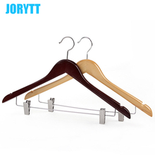 Wholesale price natural wood dresses rack hanger for hotel/home/clothing store rewooden color multifunctionan hanger