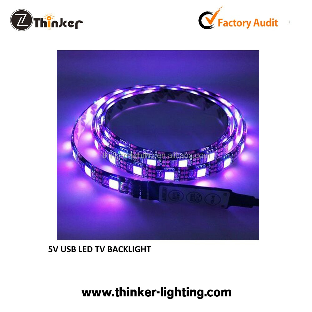 USB connector powered 5V led TV backlight 5050 led strip with IR/RF controller