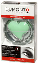 PROFESSIONAL COSMETIC LIGHT GREEN EYEBROW HEART TWEEZERS