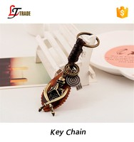 high quality promotional cowboy, spider custom cheap leather keychain wholesale
