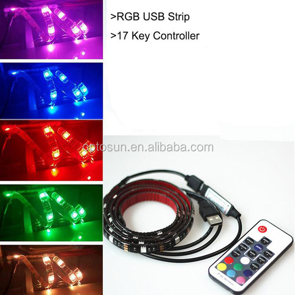 USB LED Light Strip with Velcro Tape, TV Backlighting, Bias Lighting for HDTV USB LED Strip with Remote Control