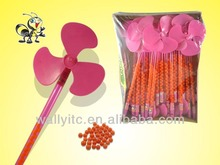 2014 HOT SELL Long Whistle Plastic Windmill Toy With Candy/Fan Spinning Candy Toy