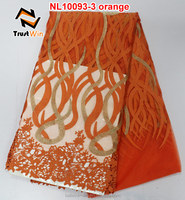 Fashion orange net lace african french lace of NL10093