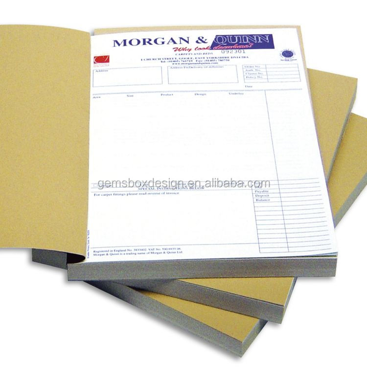 triplicate carbonless custom print invoice receipt <strong>book</strong>