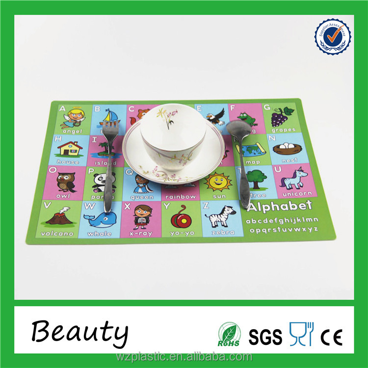 Wolesales colorful UV print poly placemat for kids