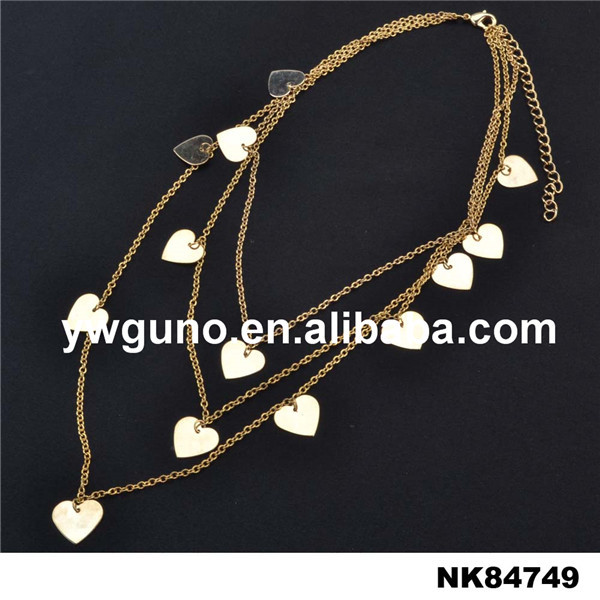 fashion jewelry wholesale three layer chain personalized necklace with love heart