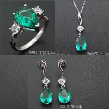 Lady Jewelry Green Spinel Gemstones Silver Sets For Customize DR01407171S-G