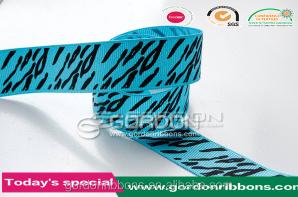 2016 high quality satin heat transfer craft stripe zebra printed ribbon products for gift packing,