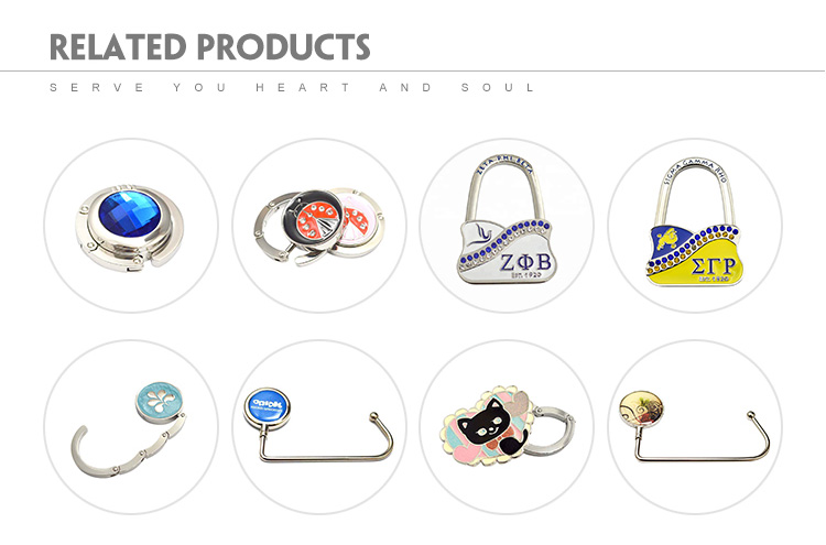 Qualified hottest custom logo zinc alloy purse hook bag hanger