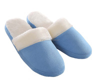 hot sale comfort warm plush woman lady indoor girls shoe with blue and white
