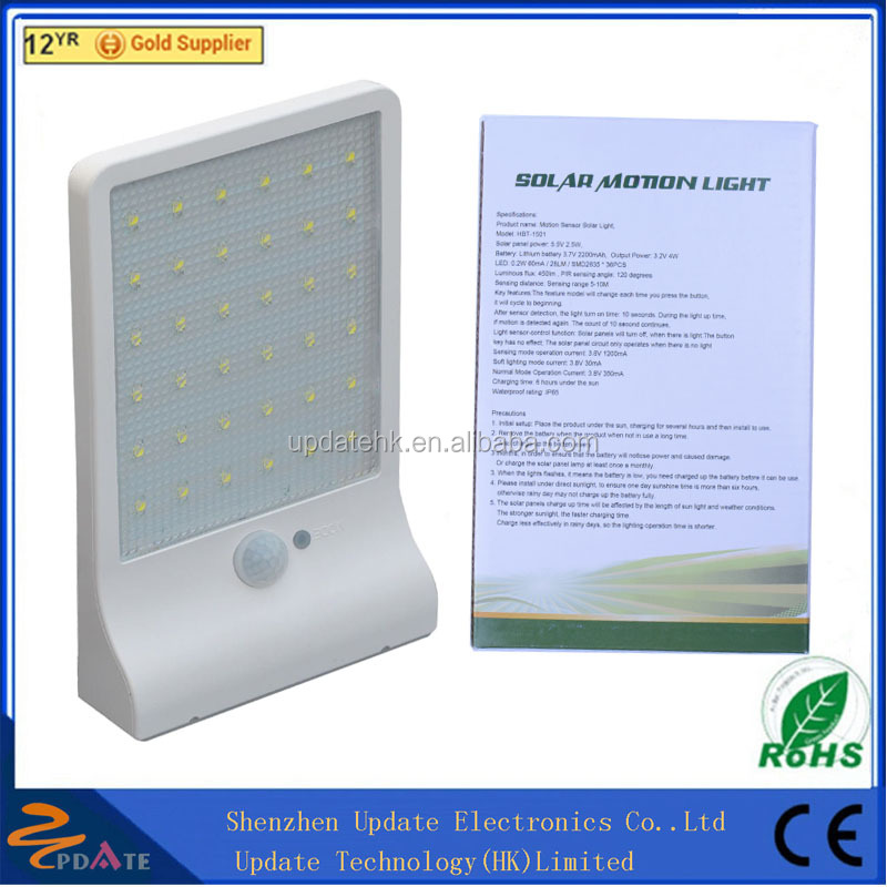 450lumens 36LED Wall Mounted Motion Sensor Outdoor Solar Wall Light with Waterproof IP65