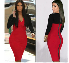 2015 long sleeve patchwork knitted sey deep V-neck kim kardashian women knee-length prom cocktail party celebrity bandage dress