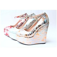 SAA4702 Exotic women shoes 15cm high heel fancy camouflage fashion ladies wedge shoes size 30-43