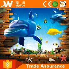 [YL-T023] Customized Big Size Free 3D Dolphin Wall Papers Home Decor