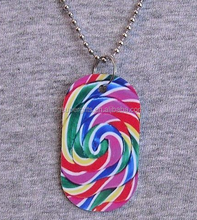 Metal dog tag Necklace CANDY swirl sweets treat lollipop pendant