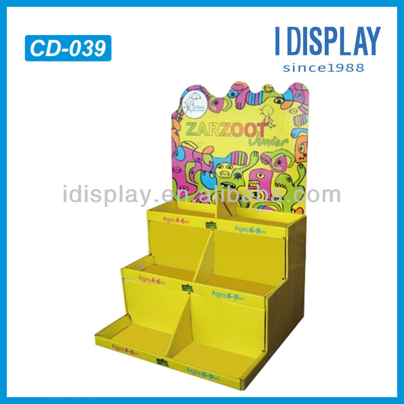 corrugated cardboard counter display for picture-story book of different ages
