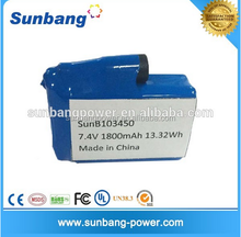 Special design 3.7v 7.4v 103450 li-ion prismatic battery 103450 lithium polymer battery operated heated product