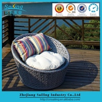 Sailing Customized Plastic Rattan Beach Round Chaise Lounge Chair