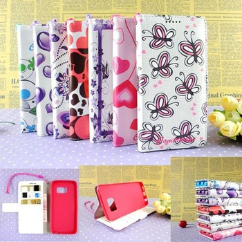 Colorful printing PU leather stand flip men wallet for samsung S6 edge women cell phone purse bag for samsang wholesale
