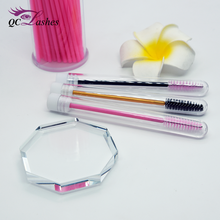 Wholesale portable disposable eyelash extension cleaning brush holder makeup brush with a cap