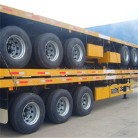 LUFENG 3 axles container flat bed trailer with BPW axles and air suspension