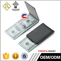 High Quality Genuine Soft Leather Money Clip Strong Magnet Thin Wallet