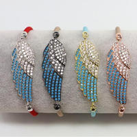 LS-D6829 New Arrival !Wholesale Popular High Quality jewelry silk cord charm bracelet with cubic zircon cool wing charms