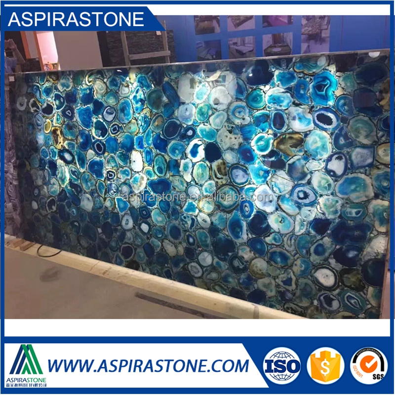 luxurious gemstone backlit semi precious stone blue agate slab