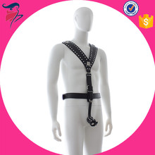 Hot sell Luxury male Slave Fetish Body Harness 100% Leather Sex Dress