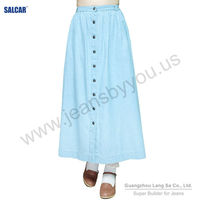 Guangzhou Orient Way Garment Co. ltd Women Light Blue Relaxed Denim Long Skirts