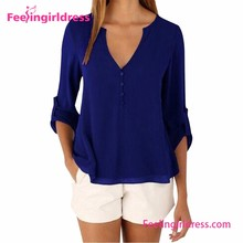 2016 Drop Shippping Blue Chiffon V Neck Sexy Fashion Blouse Baju Design
