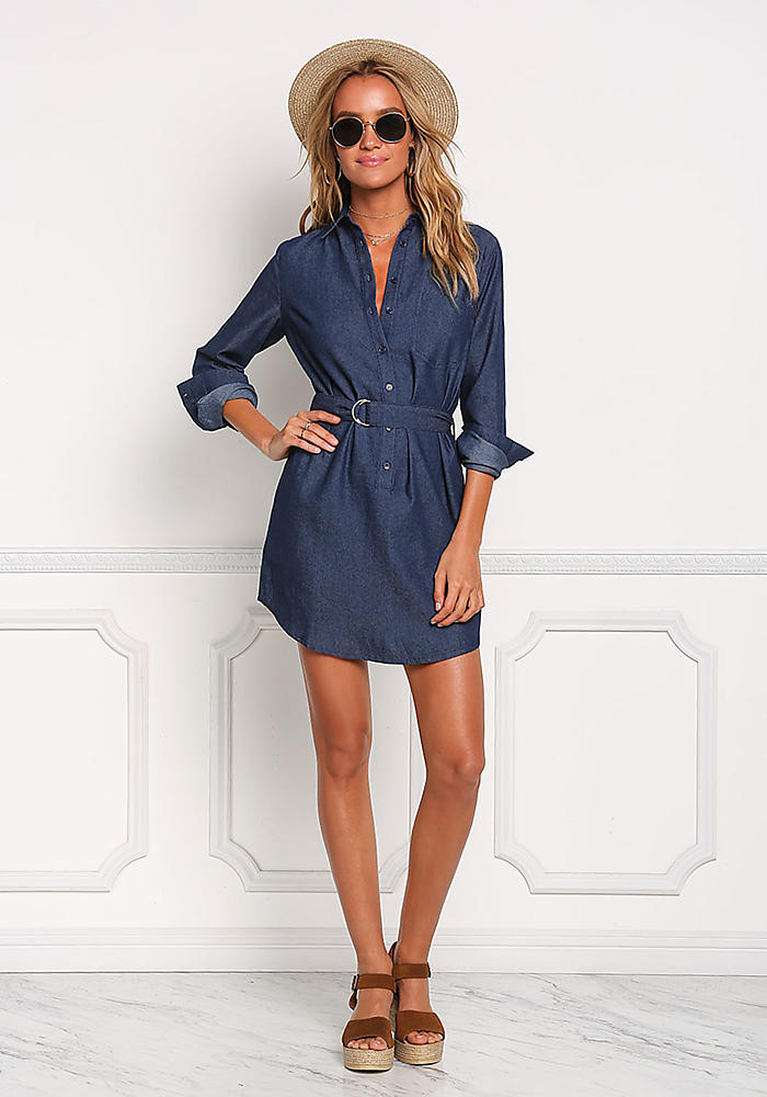 China Products Small Quantity Dark Denim Cinched Pocket Dress