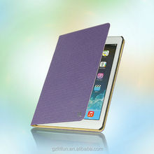 High end grid pattern elegant real leather case for iPad6 air 2