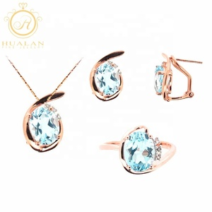 Hot Solid 9K Gold Pendant Earring Ring 4 Pieces With Gemstone Jewelry Arabic Gold Set