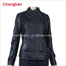 Chonghan Wholesale Customized Ladies Black Pu Leather Motorcycle Jackets For Winter