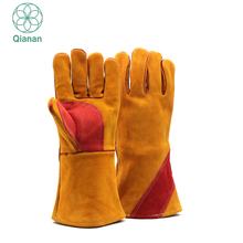 Heavy Cowhide Electricail Leather Welding Sleeve Working Gloves