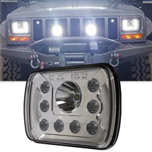 "White DRL Square 6X7inch H4-plug Amber turn signal LED Headlights for Jeep Wrangler YJ 5x7"" Led working light"