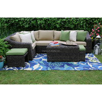Williams style EA 8 piece sectional group rattan sofa set outdoor patio furniture