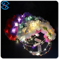 Hot selling 2017 amazon artifical flower crowns LED light glow hair accessory