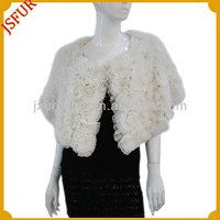 Custom stylish women's white wedding lace disc-flower fur shawl with real rabbit fur shawl for evening dress