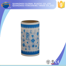 wholesale printed flower laminated breathable pe wrapping film for sanitary napkins