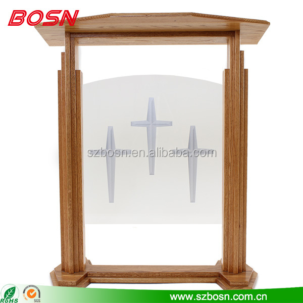 Modern new style custom size wooden design lectern Perspex church podium
