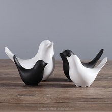 Classic Design Black and white modern small birds figurines